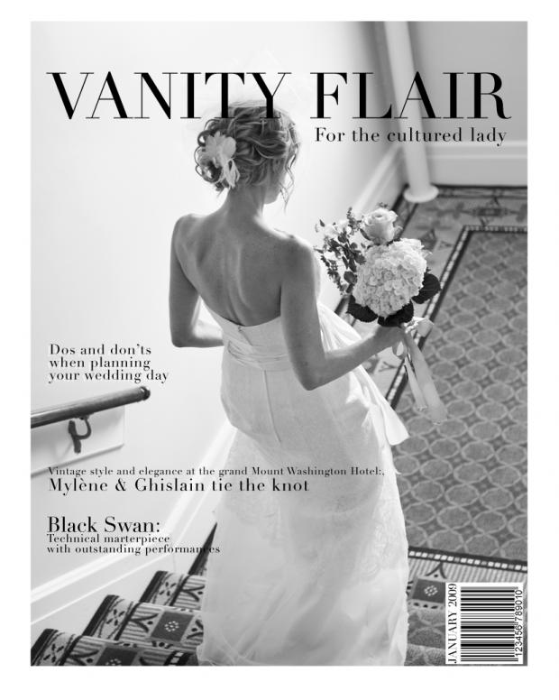 Bridal going down stairs at grand Hotel Mount Washington