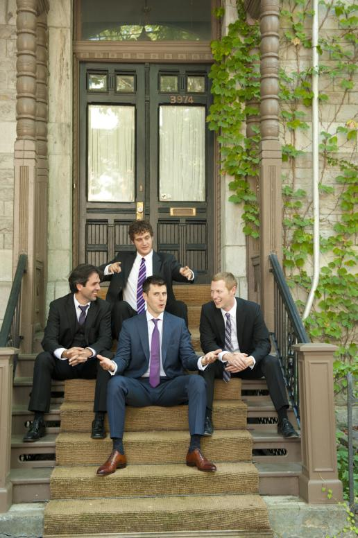 Groom and groomsmen photo session on Plateau Mont-Royal